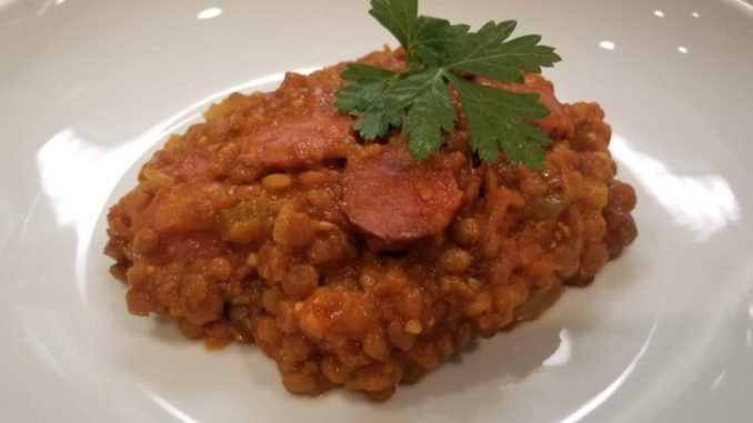 Instant Pot Lentils and Smoked Sausage